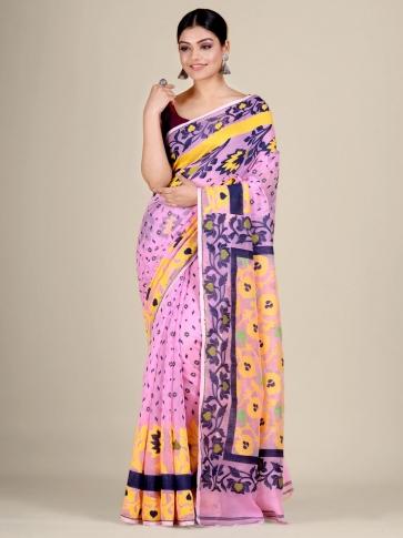 Pink and Multicolor Silk Cotton handwoven soft Jamdani saree