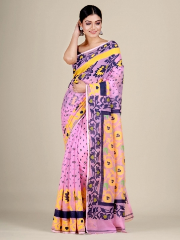 Pink and Multicolor Silk Cotton handwoven soft Jamdani saree 0