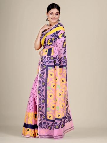 Pink and Multicolor Silk Cotton handwoven soft Jamdani saree 1