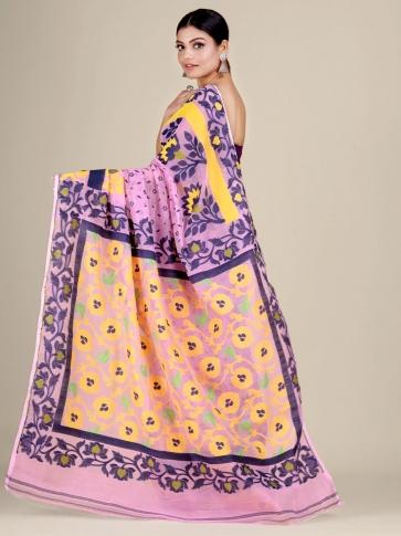 Pink and Multicolor Silk Cotton handwoven soft Jamdani saree 2