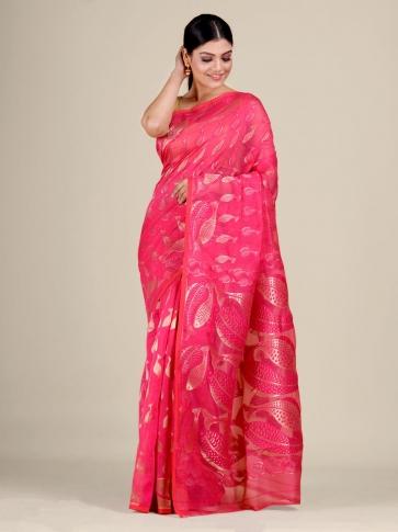 Pink and Golden Silk Cotton handwoven soft Jamdani saree with fish motiff in pallu 0