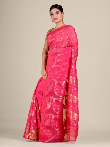 Pink and Golden Silk Cotton handwoven soft Jamdani saree with fish motiff in pallu 1
