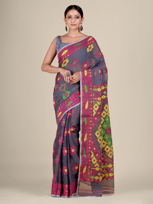 Grey and Multicolor Silk Cotton handwoven soft Jamdani saree with floral weaving