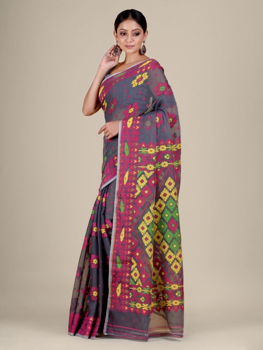 Grey and Multicolor Silk Cotton handwoven soft Jamdani saree with floral weaving 0