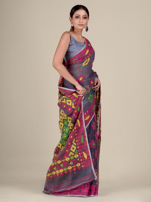 Grey and Multicolor Silk Cotton handwoven soft Jamdani saree with floral weaving 1