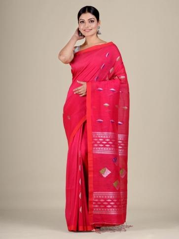 Pink Cotton Linen hand woven  saree