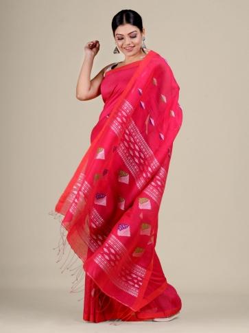 Pink Cotton Linen hand woven  saree 1