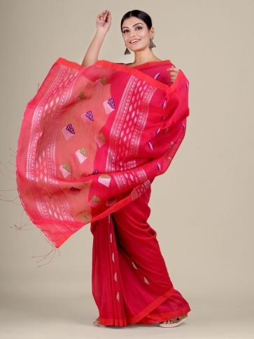 Pink Cotton Linen hand woven  saree 2