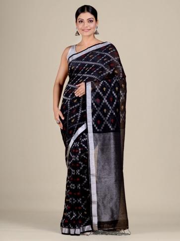 Black Cotton Linen hand woven  saree with zari work