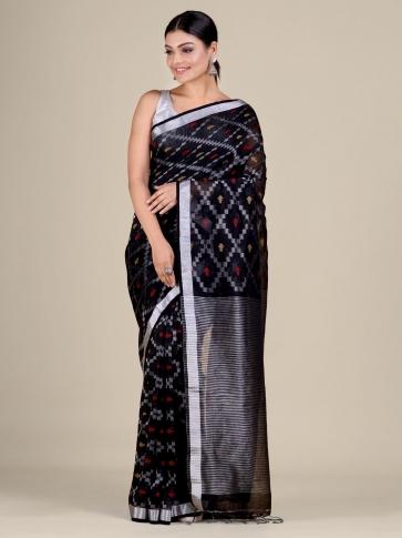 Black Cotton Linen hand woven  saree with zari work 0