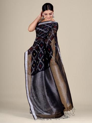 Black Cotton Linen hand woven  saree with zari work 1