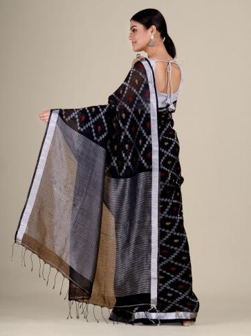 Black Cotton Linen hand woven  saree with zari work 2