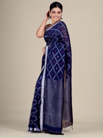 Blue Cotton Linen hand woven  saree with zari work 0