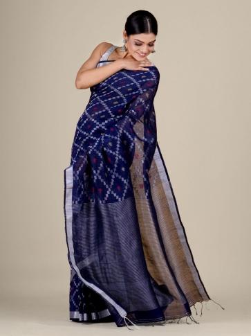 Blue Cotton Linen hand woven  saree with zari work 1