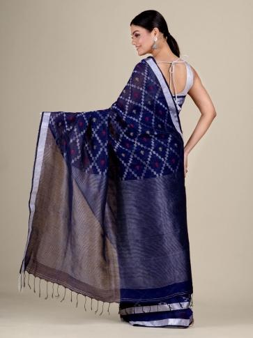 Blue Cotton Linen hand woven  saree with zari work 2