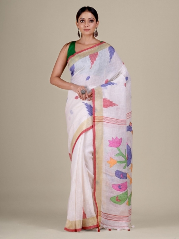 White Linen handwoven Jamdani saree 1