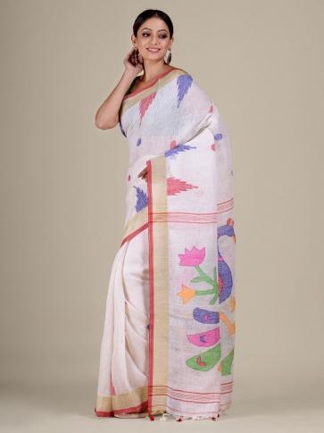 White Linen handwoven Jamdani saree