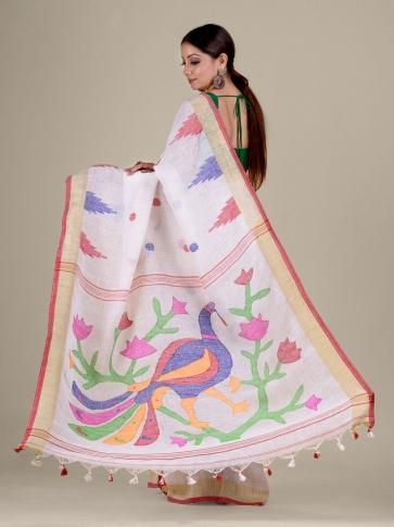 White Linen handwoven Jamdani saree 2