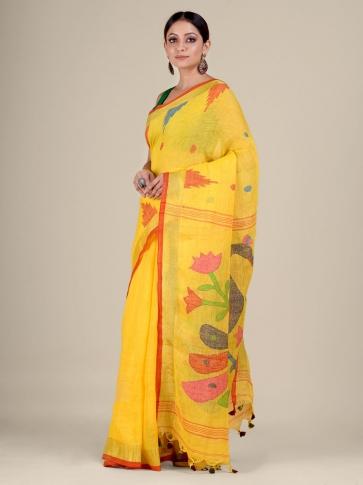 Yellow Linen handwoven Jamdani saree 0