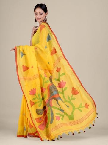 Yellow Linen handwoven Jamdani saree 1