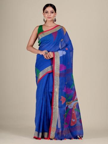 Blue Linen handwoven Jamdani saree