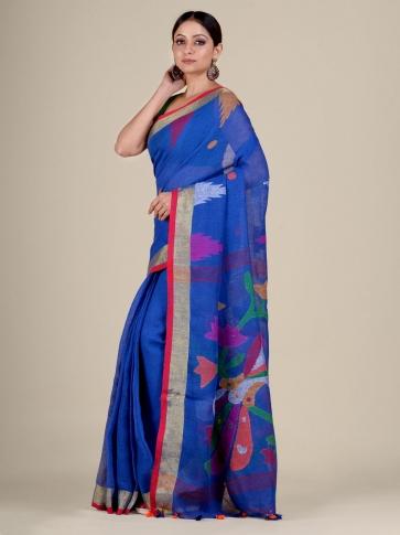 Blue Linen handwoven Jamdani saree 1