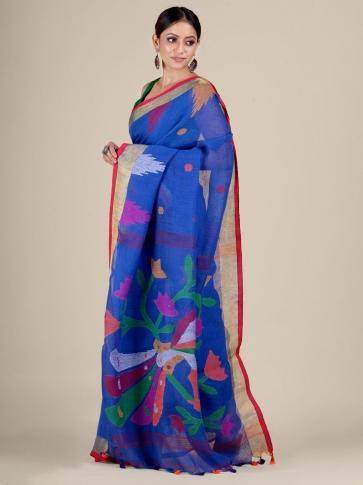 Blue Linen handwoven Jamdani saree 2