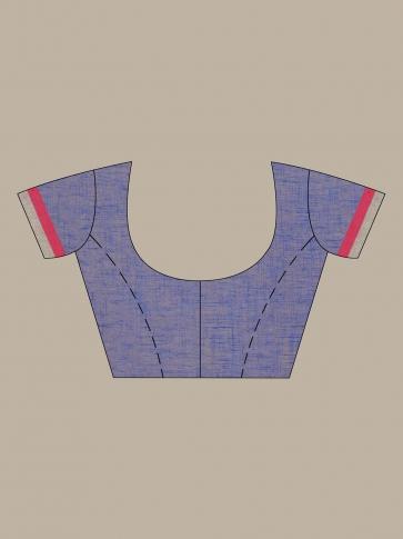 Blue Linen handwoven Jamdani saree 0