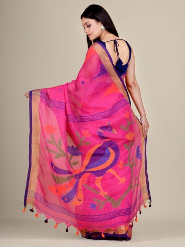 Deep Pink Linen handwoven Jamdani saree 0