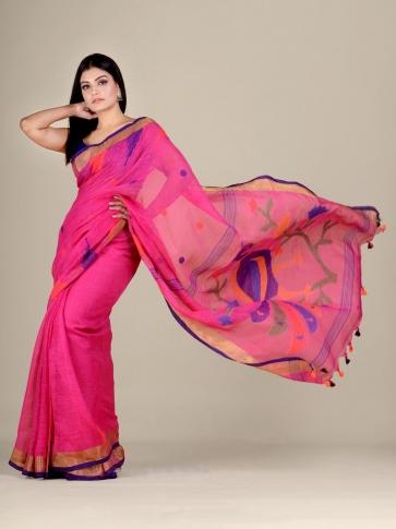 Deep Pink Linen handwoven Jamdani saree