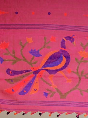 Deep Pink Linen handwoven Jamdani saree 2