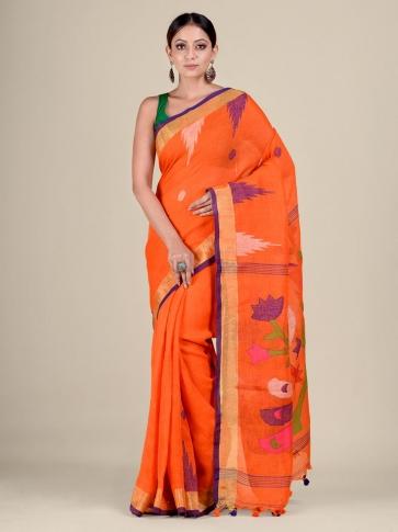 Orange Linen handwoven Jamdani saree