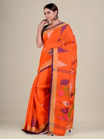 Orange Linen handwoven Jamdani saree 2