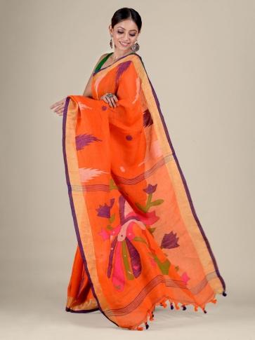 Orange Linen handwoven Jamdani saree 1