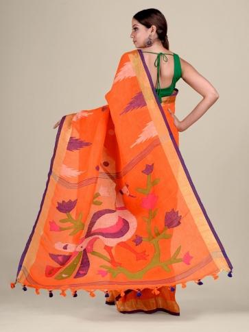 Orange Linen handwoven Jamdani saree 0