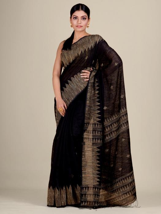Black Silk Matka handwoven Jamdani saree
