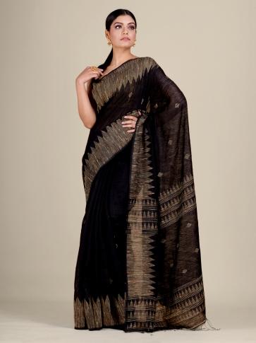 Black Silk Matka handwoven Jamdani saree 1
