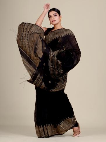 Black Silk Matka handwoven Jamdani saree 2