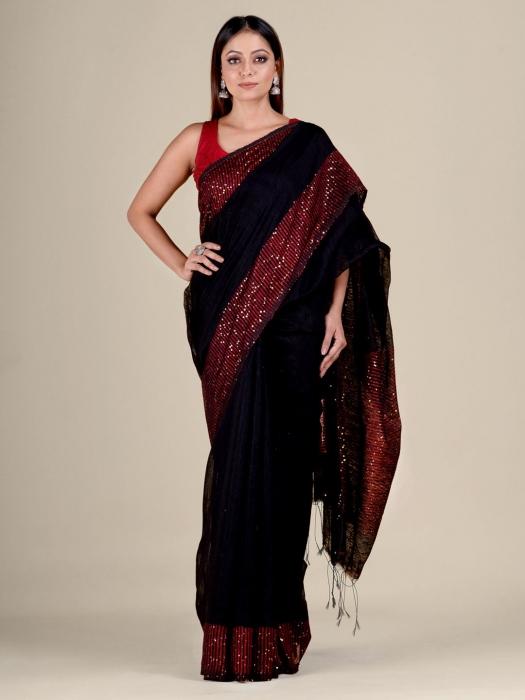 Black Silk Matka handwoven saree with sequiens