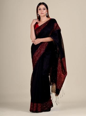 Black Silk Matka handwoven saree with sequiens 0