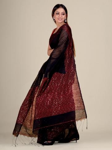 Black Silk Matka handwoven saree with sequiens 1