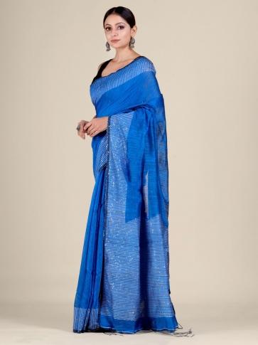Blue Silk Matka handwoven saree with sequiens 0