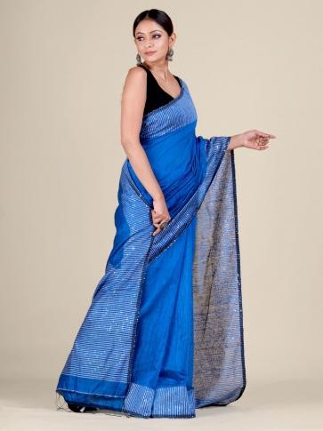 Blue Silk Matka handwoven saree with sequiens 2