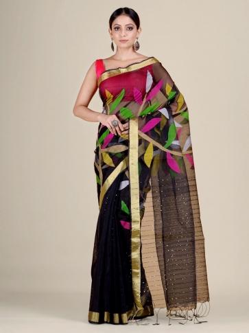 Black Silk Cotton handwoven Jamdani saree with sequiens 0
