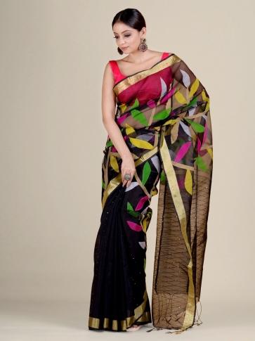 Black Silk Cotton handwoven Jamdani saree with sequiens 1