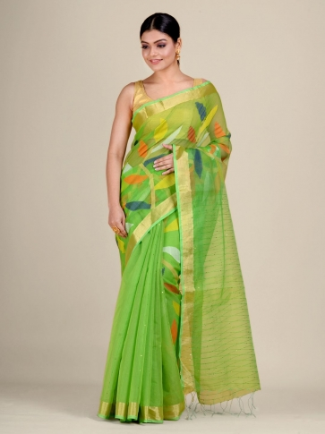 Green Silk Cotton handwoven saree with sequins