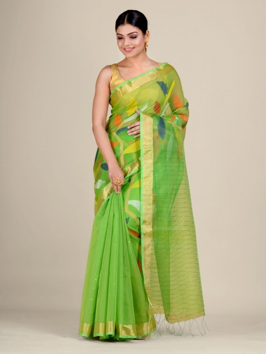 Green Silk Cotton handwoven saree with sequins 0