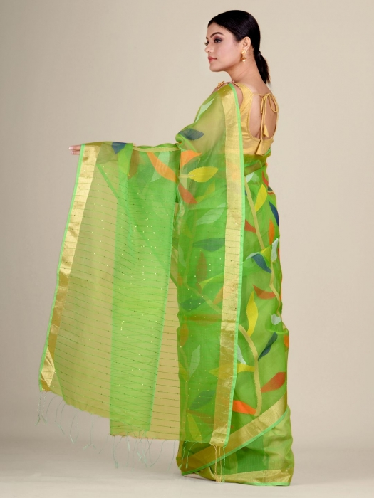 Green Silk Cotton handwoven saree with sequins 2