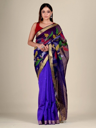 Blue Silk Cotton handwoven Jamdani saree with sequiens