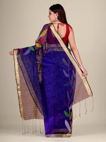 Blue Silk Cotton handwoven Jamdani saree with sequiens 2